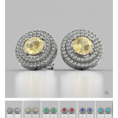 Round Cut Double Pave Style Halo Earrings