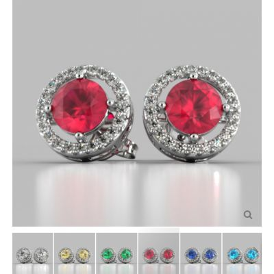 Round Cut Embelished Bail and Halo Earrings