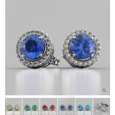 Round Cut Prong Set Tier Halo Earrings