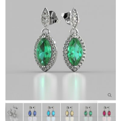 Marquise Cut Drop Style with Embellished Bail Earrings