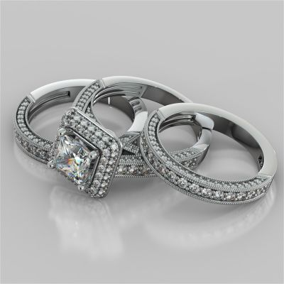 18K White Gold 3.53Ct Vintage Crisscross Style Princess Cut Cathedral Trio Wedding