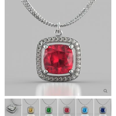 Cushion Style Halo Pendant with Round Cut Color Center Stone