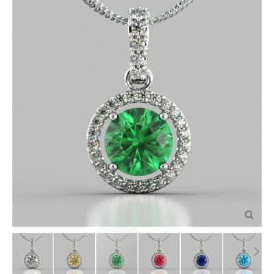 Round Cut Embellished Bail and Halo Pendant