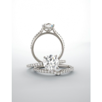 Round Cut Lab Grown Diamond Cathedral Engagement Ring
