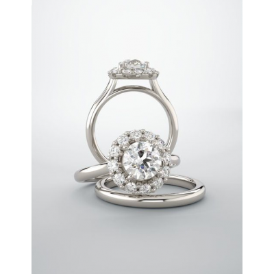 Round Cut Halo Lab Grown Diamond Engagement Ring