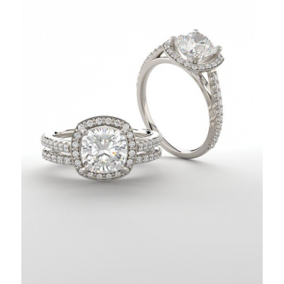 Cushion Halo-Style Lab Grown Diamond Engagement Ring