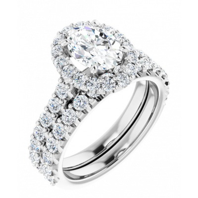 Oval Cut Halo Lab Grown Diamond Engagement Ring