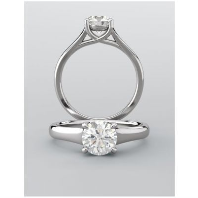 Asscher Cut Lab Grown Diamond Cathedral Engagement Ring