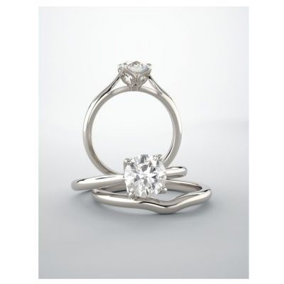 Round Cut Lab Grown Diamond Tulipset Engagement Ring