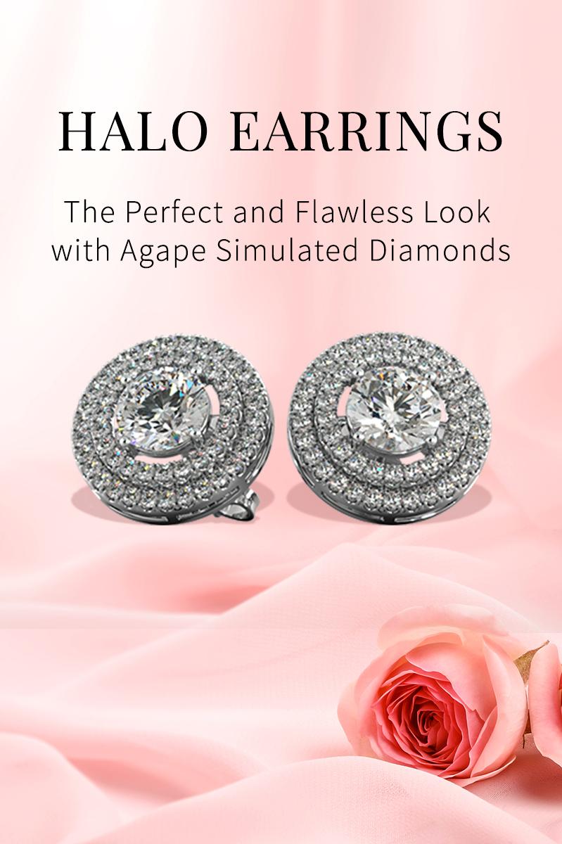 Agape Diamonds Halo Earrings