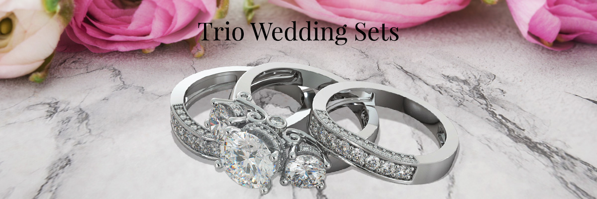 Agape Diamonds Wedding Trio Engagement Ring Sets