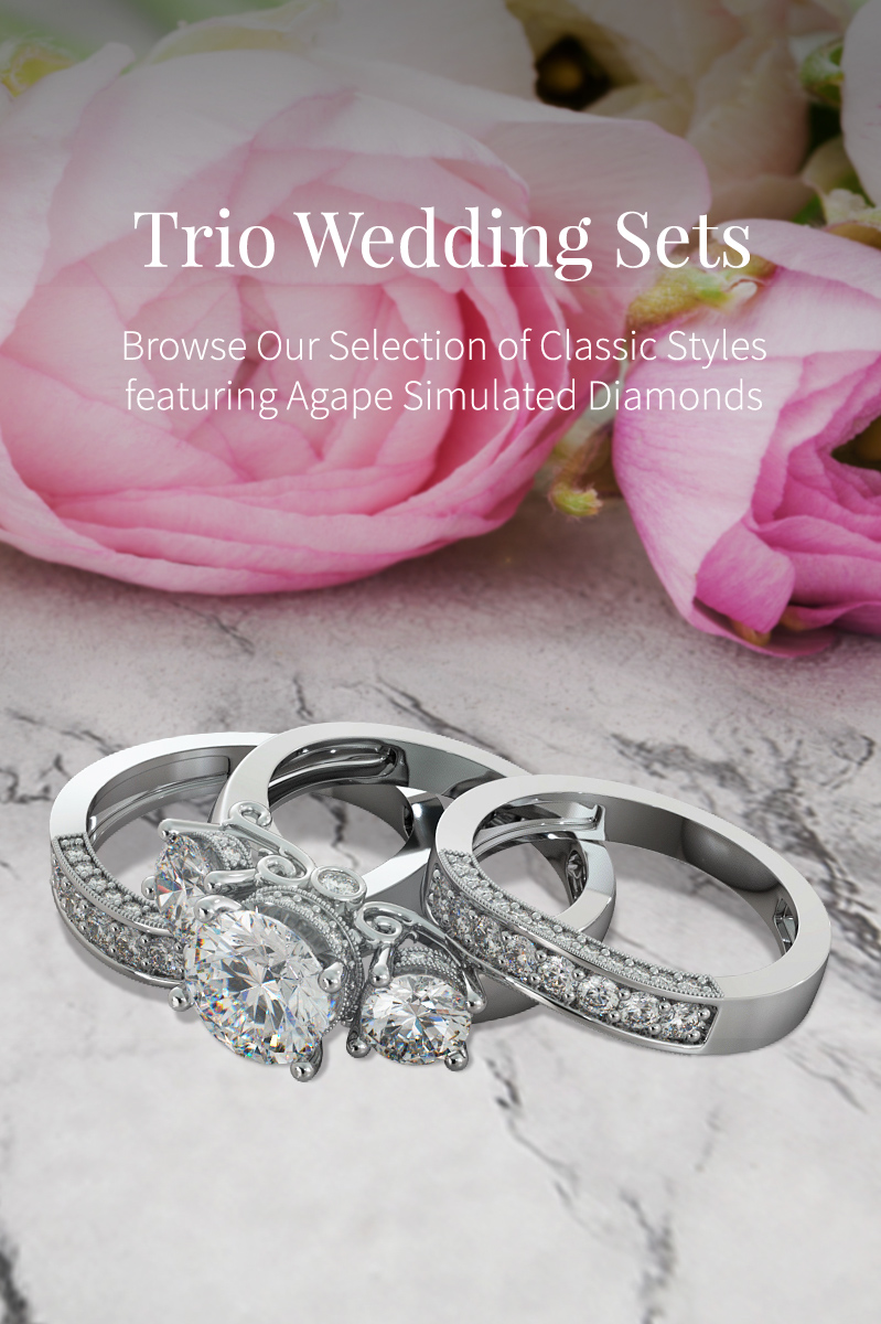 Agape Diamonds Wedding Trio Engagement Ring Sets